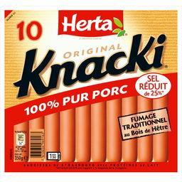 Knacki - Saucisses 100% pur porc réduit en sel