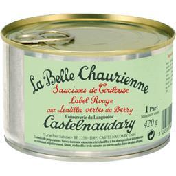 Saucisses de Toulouse Label Rouge lentilles vertes du Berry