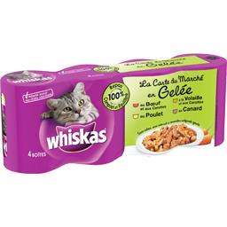 Aliment pour chat en gelée aux viandes  4 variétés