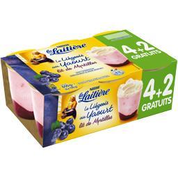 La Laitière Le Liégeois au yaourt lit de myrtilles les 4 pots de 100 g
