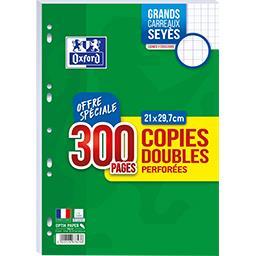 Oxford Copies doubles perforées, grands carreaux Séyès - 21...