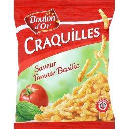 Craquilles saveur tomate basilic, produit soufflé à base de maïs