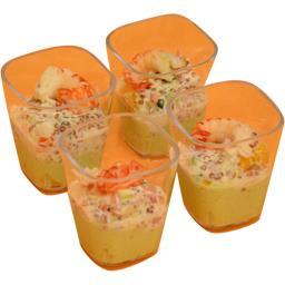 Verrines avocat écrevisse quinoa rouge légumes mandarine