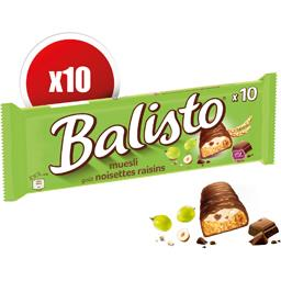 Barres chocolatées muesli goût noisettes raisins