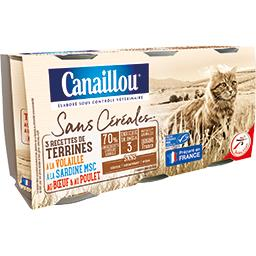 Terrines volaille/sardine/bœuf poulet s/céréales pou...