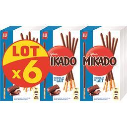 LU Mikado - Biscuits chocolat au lait le lot de 6 boites de 90 g