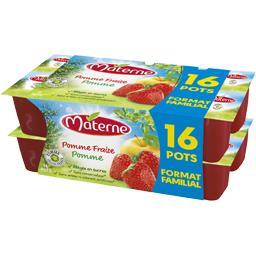 Materne Spécialité de pomme fraise les 16 pots de 100 g