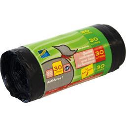 Clean Home Sacs poubelle 30 litres liens de fermeture les 20 sacs