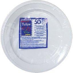 Assiettes plastique blanches, rigides et résistantes...