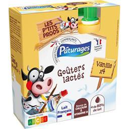Pâturages Goûters lactés vanille les 4 gourdes de 85 g