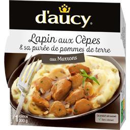 Lapin sauce aux cèpes & purée de pommes de terre aux...