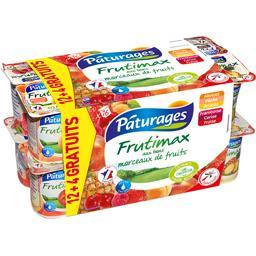 Pâturages Frutimax - Yaourt brassé aux bons morceaux de fruits les 12 pots de 125 g