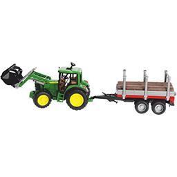 Tracteur John Deere avec fourche et remorque porte troncs