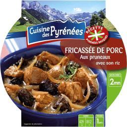 Fricassée de porc aux pruneaux avec son riz,Cuisine Des Pyrénées,la barquette de 300g