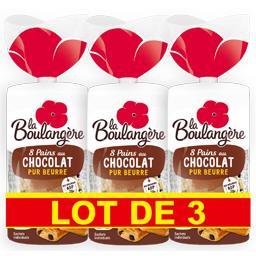 La Boulangère Pains au chocolat pur beurre le lots de 3 paquets de 400 g