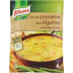 Soupe paysanne aux légumes cuisinée au lard