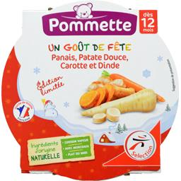 Pommette Panais, patate douce, carotte et dinde, dès 12 mois l'assiette de 230 g
