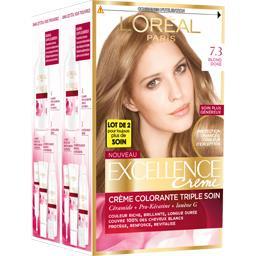Excellence crème 7 (3), crème colorante permanente blond doré, triple protection