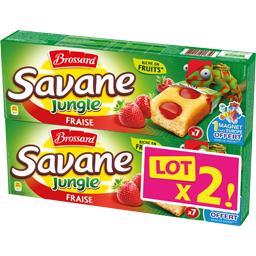 Brossard Savane - Gâteaux Jungle fraise le lot de 2 paquets de 175 g