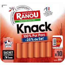 Monique Ranou Saucisses Knack pur porc sel réduit les 2 paquet de 10 - 1050g