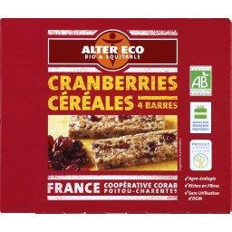Barres de céréales BIO cranberries