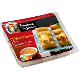 Mini nems, porc & crevette-crabe avec sauce nuoc mam