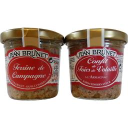 Jean Brunet Terrine de campagne et confit de foies de volaille les 2 terrines de 90 g