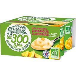 Les 300 & Bio Les  & bio Nos Brassés mangue & ananas BIO les 4 pots de 125 g