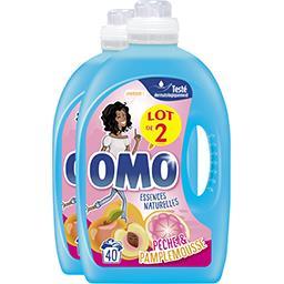 Omo Lessive liquide Festival de fruits et fleurs d'été les 2 bidons de 2 l