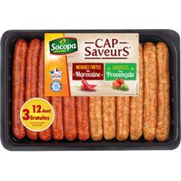 Socopa Assortiment de saucisses provençale et merguez forte... la barquette de 12 - 660 g