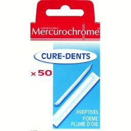 Cure-dents aseptisés, forme plume d'oie, x50