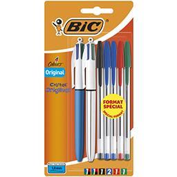 2 stylos bille 4 couleurs bic + 5 stylos bille crist...