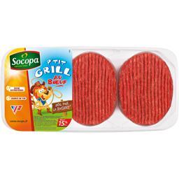 P'tit grill au boeuf, préparation à 80% de viande bovine hachée, avec protéines végétales, assaisonnée, 15% de MG
