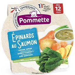 Epinards au Saumon avec morceaux, dès 12 mois, l'assiette de 230 g,POMMETTE,l'assiette de 230 g