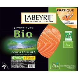 Labeyrie Saumon fumé BIO doux & équilibré le paquet de 4 tranches 140 g