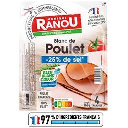 Monique Ranou Blanc de poulet réduit en sel la barquette de 4 tranches - 160 g