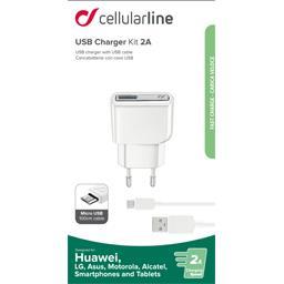 Kit chargeur secteur USB 2A + câble micro USB blanc