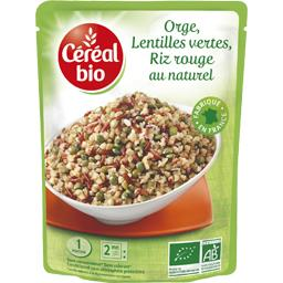 Orge, lentilles vertes, riz rouge au naturel BIO
