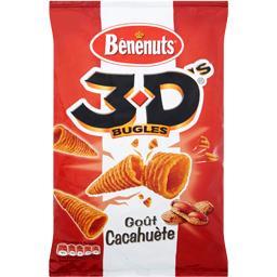 Produit soufflé à base de maïs à la cacahuète - 3D Bugles,BENENUTS,le sachet de 85g