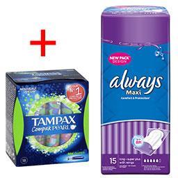 Le lot de Tampons Compak Pearl Super + Serviettes hygiénqiues Maxi Long Plus