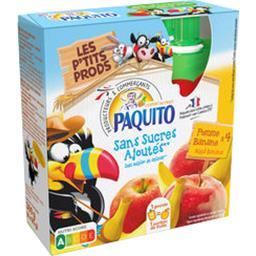 Paquito Purée de fruits pomme banane sans sucres ajoutés les 4 gourdes de 90 g