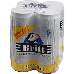 Britt La Bière de Bretagne blonde les 4 cannettes de 33 cl