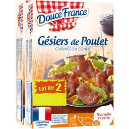 Douce France Gésiers de poulet cuisinés en confit le lot de 2 boites de 300 g