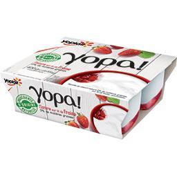 Yopa ! - Yaourt nature 0% sur lit de fraise