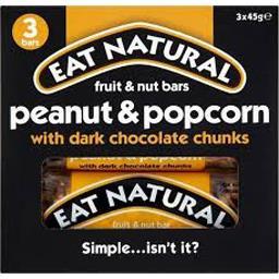 Barres cacahuètes & pop-corn chocolat noir