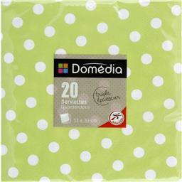 Serviettes 3 plis, pliage 1/4 33x33 cm, vert anis Do...