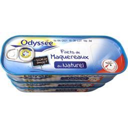Odyssée Filets de maquereaux au naturel les 3 boites de 176 g