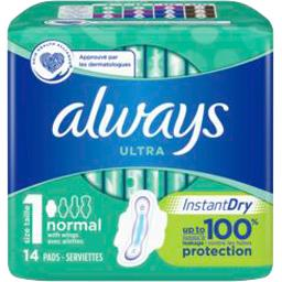 Always Serviettes hygiéniques ultra - normal+ t1 x14 Paquet de 14 serviettes