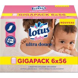 Lotus Baby Lingettes épaisses Ultra Douce les 6 paquets de 56 lingettes -