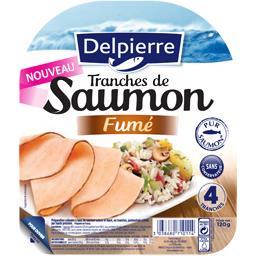 Delpierre Tranches de saumon fumé cuites la barquette de 4 - 120 g